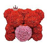 Cuttey Rose Bär Rot, 25cm Rosenbär, Rose Blume Teddybär Puppe, handgefertigter Teddybär...