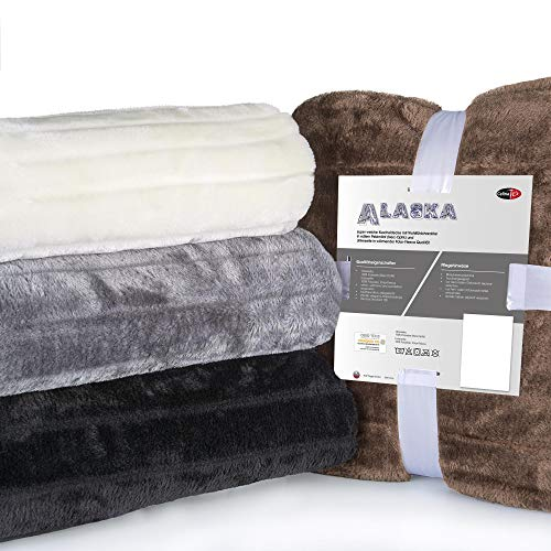 CelinaTex Alaska XXL-Kuscheldecke 200 x 240 cm braun Polar Fleece Sofadecke Felloptik Tagesdecke Fellimitat Wohndecke