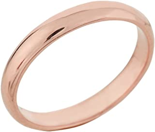 Classic 14k Rose Gold Comfort-Fit Band Dainty 3mm Wedding Ring for Women