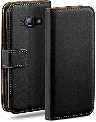 OneFlow Bolso Funda Samsung Galaxy J1 (2016) Cubierta con Tarjetero | Estuche Flip Case Funda móvil Plegable | Bolso móvil Funda Protectora Accesorios móvil protección paragolpes en Deep-Black