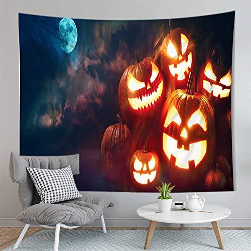PPOU Alfombra de Calabaza de Halloween 3D Manta Tapiz montado en la Pared Estera de Yoga Bohemia Decoración de la Pared del hogar Tapiz de Tela de Fondo A8 73x95cm