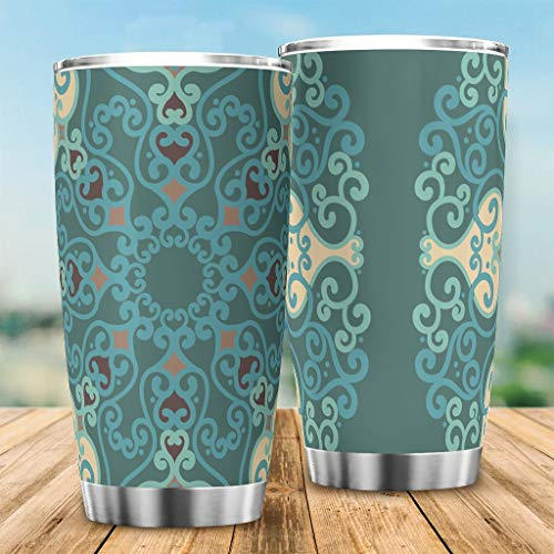 Bannihorse Taza de café con diseño de mandela, de acero inoxidable, con tapa, para bebidas frías y calientes, color blanco, 20 ml