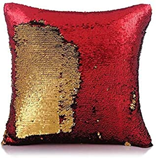 Kartik Sequin Mermaid Throw Pillow Cover with Magical Color Changing Reversible Paulette Design Decor Cushion Pillowcase Set of 1 - Golden & Red 16X16