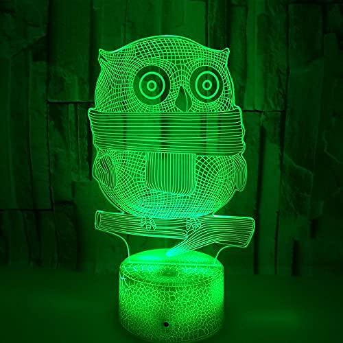 FREEZG lamparas infantiles Búho animal arte Luz Nocturna Infantil 7 Colores con Mando a Distancia Dormitorio Decoración Regalo de Cumpleaños para Niños
