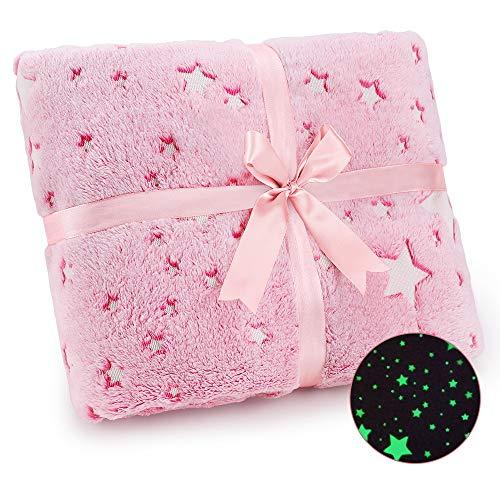 Exqline Kuscheldecke Kinder mit Glow Sterne, Decke Leuchtet im Dunkeln, Warme Kuscheldecke Leuchtend Flauschig mit Schöne Bogenverpackung als Mädchen Junge Geschenk (Rosa)