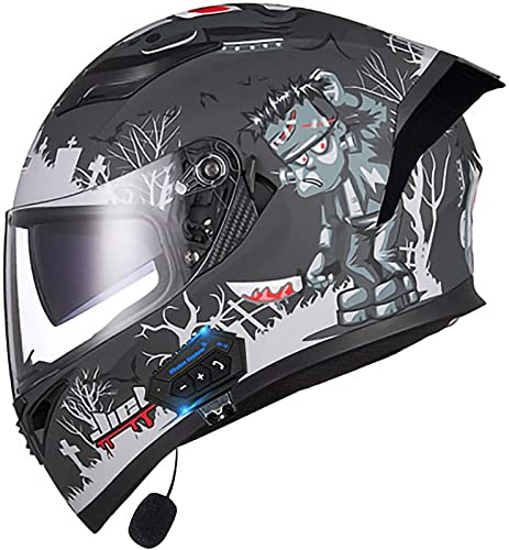 Casco abatible con Bluetooth, casco de motocicleta integrado con Bluetooth con cascos modulares aprobados por la ECE, casco abatible para motocicleta, casco para scooter F, M