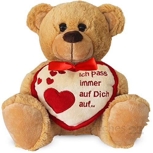 matches21 Teddybär mit Herz / Herzteddy ** Ich Pass Immer auf Dich auf** Hellbraun / beige 25 cm - Der Geschenke Klassiker