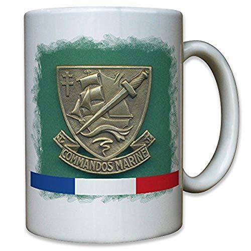 Commando Marino Francia Lucha flotador Commando Hubert Jaubert Marino KSK Ejército Francés orden Emblema Escudo–Taza Café # 10239T