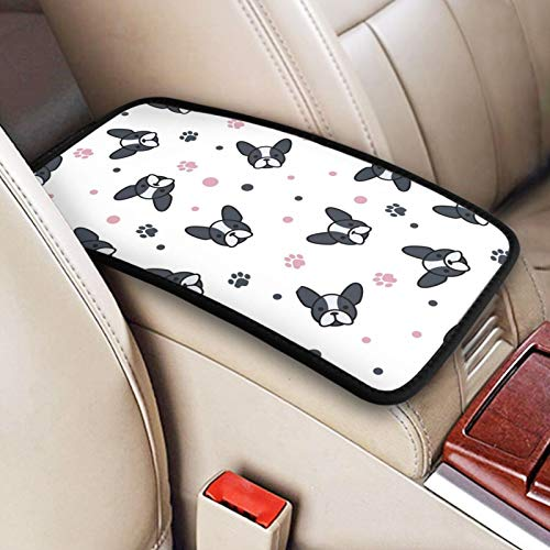 CHILL·TEK Auto Center Console Pad, Cartoon Frenchie Car Armrest Seat Box Cover Protector Universal Vehicle Console Covers Pads for Most Vehicle, SUV, Truck, Car