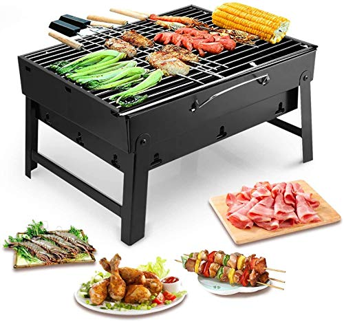 Outdoor camping barbecue grill, portable stainless steel barbecue with charcoal grill, smoker grill (color: black, dimensions: L13.8x L10.6x H7.9)