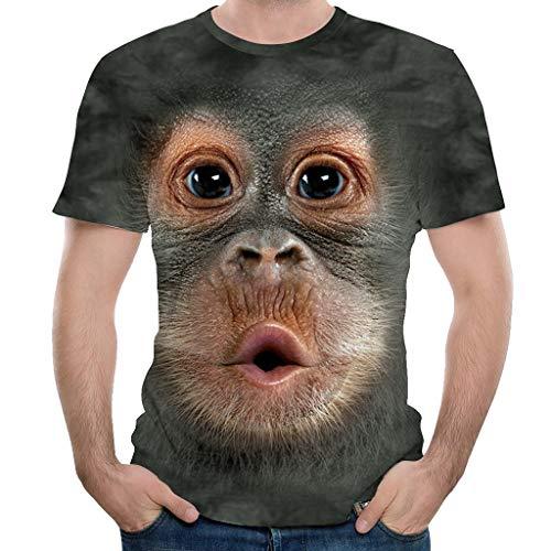 CICIYONER T-Shirt Herren Unisex Damen 3D Druck Lustiger Orang-Utan Gesicht Dicker Bauch Männer Sommer Tshirts Oansatz Kurzarm Tops Bluse
