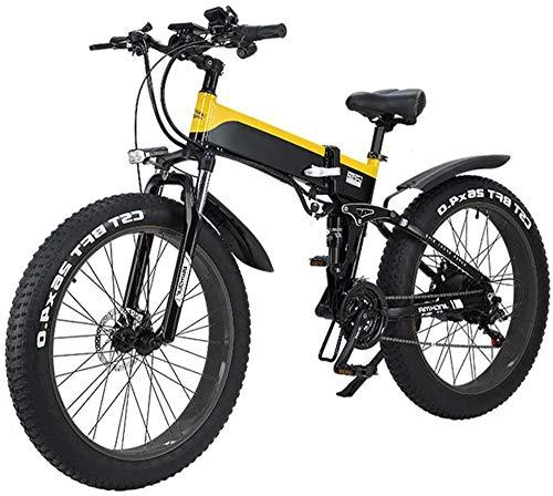 RDJM Bicicletta Elettrica Folding Electric Mountain City Bike, Display a LED Commute Bicicletta elettrica Ebike 500W 48V 10Ah Motore, 120Kg Carico Massimo, Portatile Facile da memorizzare