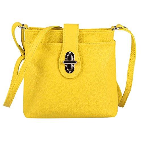OBC Only-Beautiful-Couture OBC Made in Italy Damen Leder Tasche Schultertasche Crossover Umhängetasche Vera Pelle Schmucktasche Clutch Abendtasche Cross Body City Bag (Gelb)
