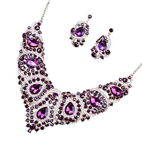 Set Brautschmuck, Ohrringe und Halskette, Diamant-Imitat aus Glas purpur