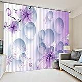 Hailongdia Sombreado 3D Cortinas De Habitación De Celosía De Flores Púrpuras Frescas Romántico Hogar Hotel Café Decoración De Oficina Cortinas De Fotos 290 (H) X140 (W) Cm X2