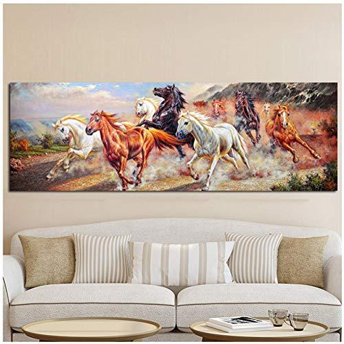 Negen lopend paard Pop Art Canvas schilderij & kalligrafie HD Print Poster Moderne muurfoto's voor de woonkamer 50X100CM No frame
