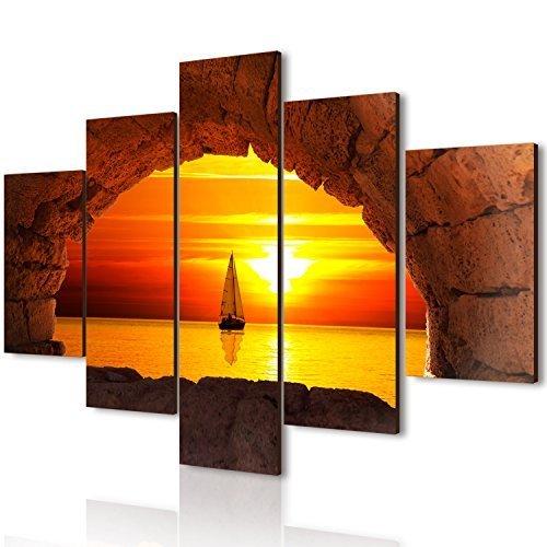 Lupia Quadro Moderno 5 Pezzi in Legno Vogue 66X115 cm Finestra inl Tramonto