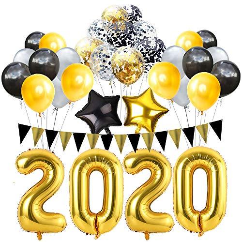 BHSTAR Abschluss 2020 Vorabend Party Lieferungen 2020 Dekorationen Kit 32 Zoll Groß 2020 Ballon+Gold Grau und Schwarz Luftballons Sets zum 2020 Abschluss Party Lieferungen Dekor