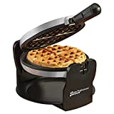 Belgian Waffle Maker Machine Rotary Electric Iron 180° with Non Stick Coated Cooking Plates, 920W (Silver)