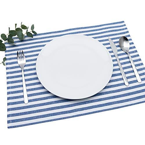 FILU Tischset 4 Stück Blau/Weiß gestreift (Farbe und Design wählbar) 33 x 45 cm - hochwertig gefertigte Platzsets aus 100% Baumwolle im skandinavischen Landhaus-Stil