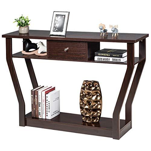 COSTWAY Konsolentisch mit Schublade und Regal, Flurtisch aus Holz, Beistelltisch für Eingang, Wohnzimmer Schlafzimmer (braun)