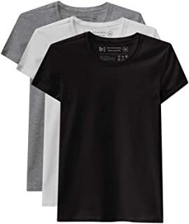 Kit 3 Camisetas Babylook Básica, Basicamente, Feminino