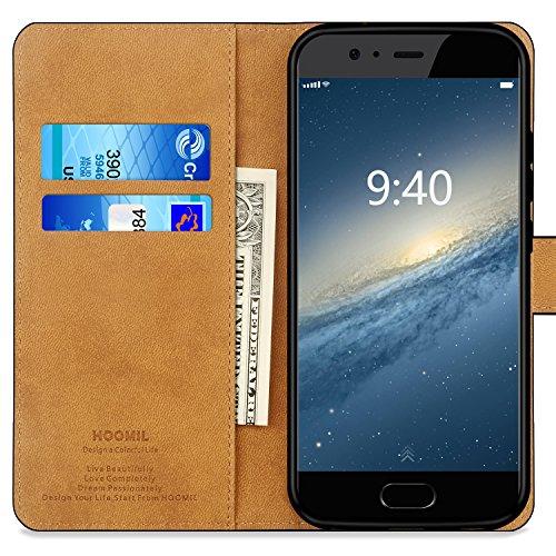 HOOMIL Handyhülle für Huawei P10 Hülle, Premium PU Leder Flip Schutzhülle für Huawei P10 Tasche, Schwarz - 2