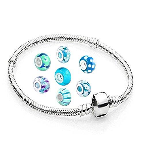 AKKI Charms Armband und 8 Anhänger Starter Set Angebot,Edelstahl Zirkonia Murano Glas bettel Beads Bead Silber Original Perlen Strass Elements Swarovski,Pandora Style kompatibel Schmuck 17cm