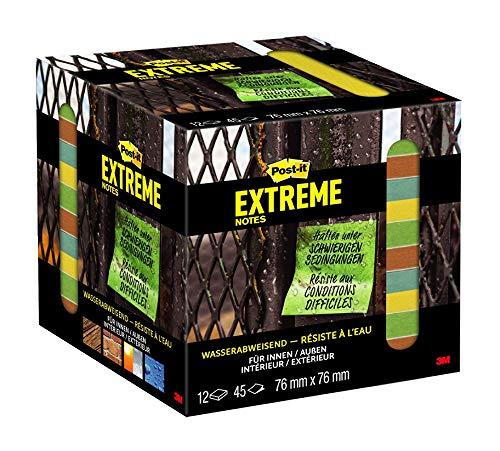 Post-it Extreme Notes - Selbstklebende Haftnotizen (76 x 76 mm) 12 Blöcke à 45 Klebezettel gelb/grün/orange/türkis