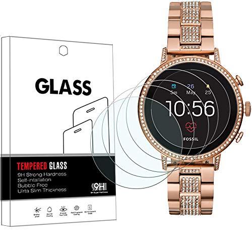 YISPIRIN (4 Stück) Ersetzt Fossil Q Venture HR (4 Gen) / Galaxy Watch 3 45 mm Schutzfolie aus gehärtetem Glas, hochauflösende Kratzschutzfolie aus gehärtetem Glas, Bildschirmschutzfolie für Fossil Gen 4