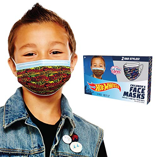 Hot Wheels Children's Single Use Face Mask, 14 Count, Small, Ages 2-7, Multi (98034)