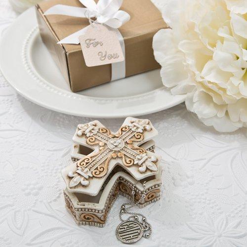 Vintage Design Cross Trinket And Jewelry Box Religious Favor , 28