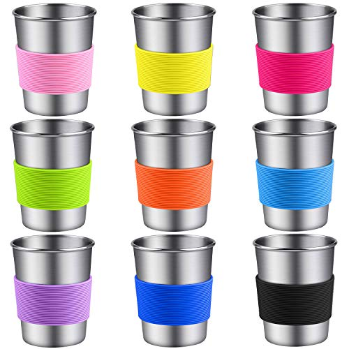 Ruisita 9 Pack 8 oz Stainless Steel Cups with Silicone Sleeve Metal Pint Tumbler Unbreakable...