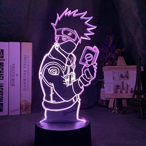 giyiohok 3D Naruto Kakashi hält ein Buch Nachtlicht Kind Junge Geschenk Schlafzimmer Dekoration Lampe Tisch LED Nachtlicht Anime Fan Geschenk