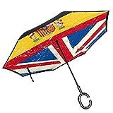 Paraguas invertidas de doble capa con bandera de Reino Unido y España, plegable, resistente al viento, protección UV, para coche, lluvia, exterior, con mango en forma de C