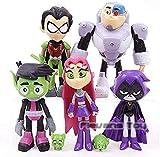 No Anime Figura Película Teen Titan Attack 7 Beast Kid Steel Bone Star Fire Crow 7Pcs / 1 Set de PVC Muñeca móvil ToyAnime Model Sculpture Collection Gift