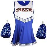 Disfraz de animadora, disfraz de High School Musical, con pompones, Women's, color azul, tamaño Medium