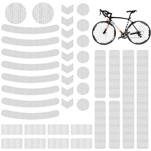 EKKONG Reflektoren Aufkleber Sticker (41 Stück),Fahrrad Reflektoren,Reflektorband selbstklebend,Reflexfolie Set zur Sicherungs-Markierung von Kinderwagen, Fahrrädern(Weißer fünfzackiger Stern)