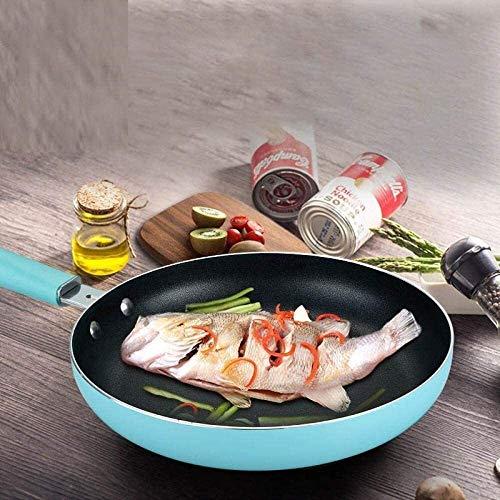 Utensilios de cocina Juegos 24cm antiadherente sartén Sin humo de aceite de cafetera eléctrica universal Fogón de gas sartén de cocina Pot 1Pcs Azul hfhdqp (Color : Pink)