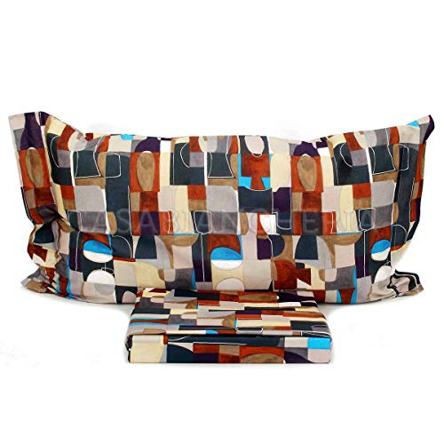 Caleffi beddengoedset voor tweepersoonsbed, van puur katoen, digitale druk, model Techno Sacco maat. 255 x 200 cm. Twee kussenslopen, afmetingen 50 x 80 cm.