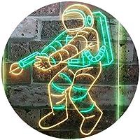 Astronaut Space Rocket Shuttle Kid Room Dual Color LED看板 ネオンプレート サイン 標識 緑色 + 黄色 400 x 600mm st6s46-i3136-gy