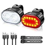 Juego de luces LED recargables para bicicleta, resistentes al agua, faro delantero con luz trasera, 4 modos de luz