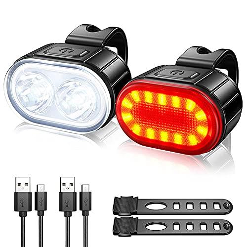 Juego de luces de bicicleta USB recargable súper brillante luz de bicicleta impermeable faro delantero y trasero para iluminación de montaña, calle, bicicletas, delantera y trasera