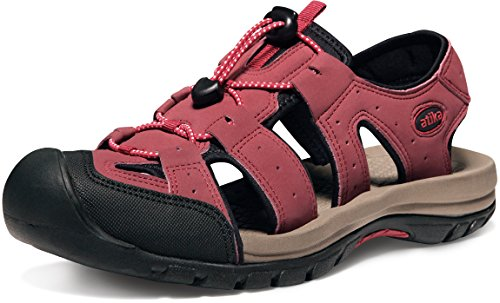 ATIKA Men's Outdoor Hiking Sandals, Lightweight Trail Walking Sandals, Closed Toe Athletic Sport Sandals, Summer Water Shoes, Cairo Sandal Pure Red, 12