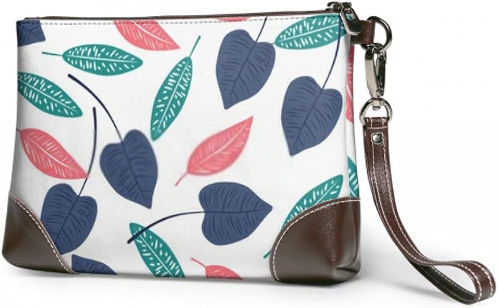 Great interest Wristlet Handbag Simple Piece Leaves Spring Max 65% OFF Leather Wristl White