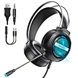 Newaner Gaming Headset PS4 Headset Xbox One Headset with 7.1 Surround Sound, Wired PC Gaming Headphones with Noise Canceling Mic, LED Light, Over-Ear Gaming Headphones for PC/MAC/PS4/Xbox one