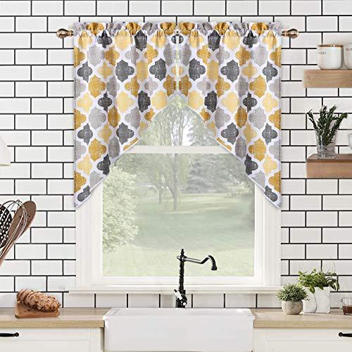 "Geometric Quatrefoil Trellis Printed Cotton Blend Tailored Kitchen Window Swag Pair Curtain Valances for Bathroom Windows, Yellow/Grey, 56"" W x 36"" L"