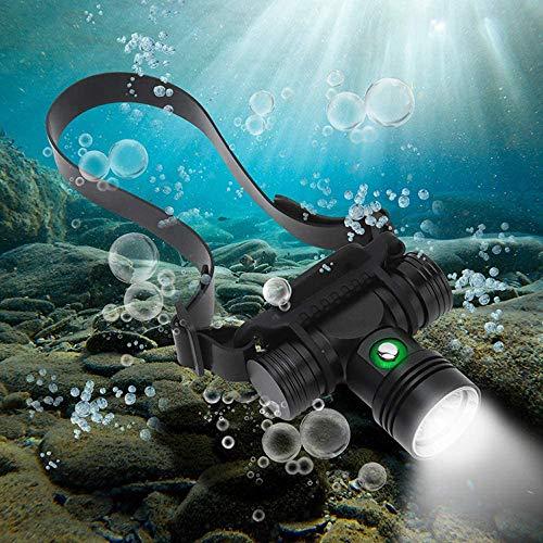 Linterna Frontal de Buceo Recargable, Súper Brillante de 8000 Lúmenes, Lámpara Frontal de Seguridad Submarina de natación Sumergible a Prueba de Agua de 60 m, con Batería y Cargador