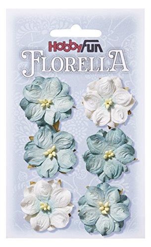 FLORELLA-Blüten aus Maulbeer-Papier, 3,5 cm, hellblau, Btl. a 6 St.