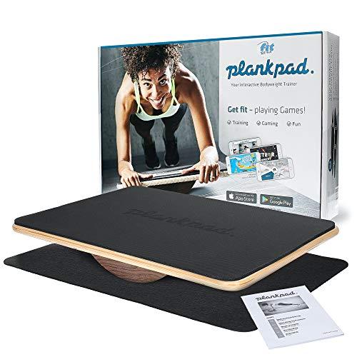 Fit for Fun Plankpad PRO Edition, interaktiver Ganzkörper-Trainer, mit passender App für Spiele & Workouts, Balanceboard aus Holz, Fitnessgerät/Hometrainer für Frauen & Männer
